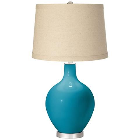 Caribbean Sea Burlap Drum Shade Ovo Table Lamp