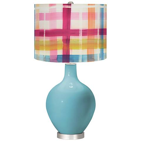 Nautilus Bold Plaid Shade Ovo Table Lamp