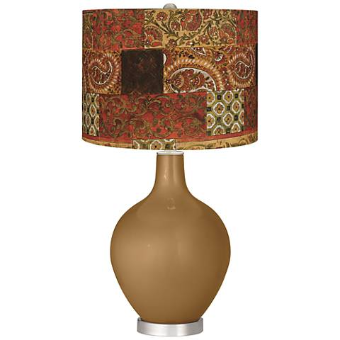 Light Bronze Metallic Paisley Patchwork Ovo Table Lamp