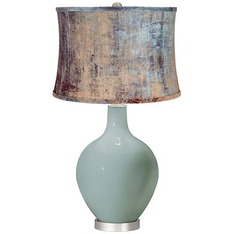Aqua-Sphere Blue Velvet Shade Ovo Table Lamp
