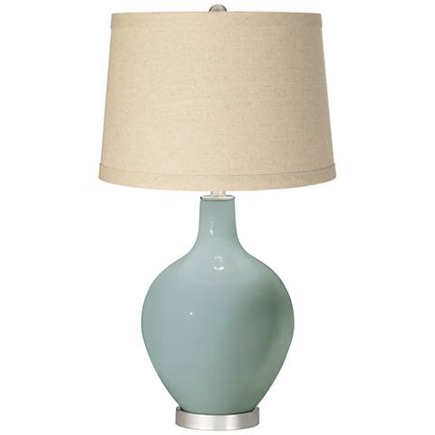 Aqua-Sphere Burlap Drum Shade Ovo Table Lamp