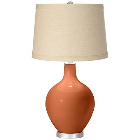 Robust Orange Burlap Drum Shade Ovo Table Lamp