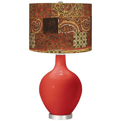Cherry Tomato Paisley Patchwork Ovo Table Lamp