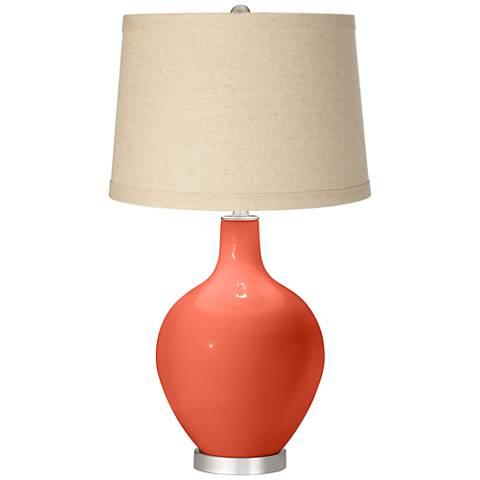 Daring Orange Oatmeal Linen Shade Ovo Table Lamp