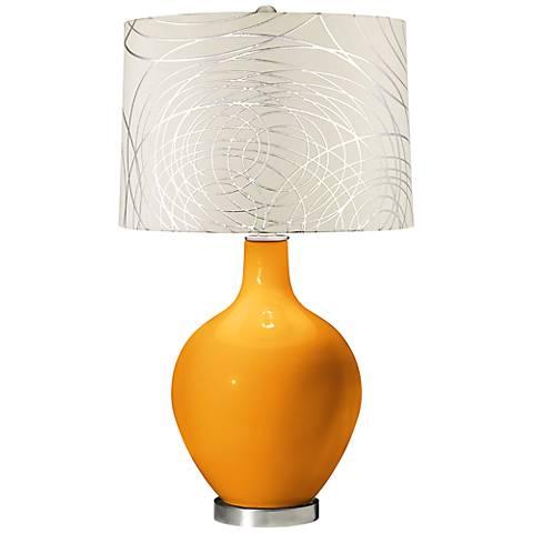 Carnival Abstract Silver Circles Shade Ovo Table Lamp