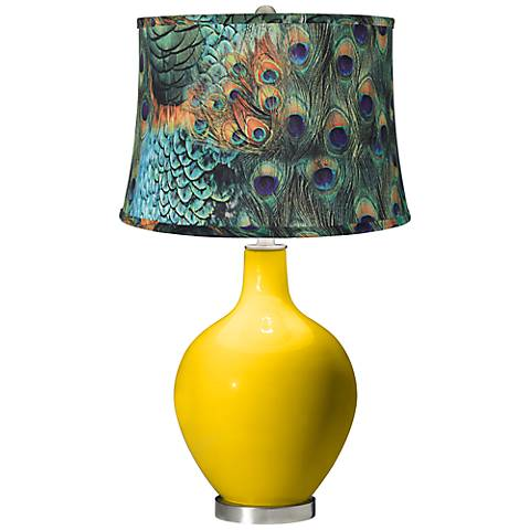 Citrus Peacock Print Shade Ovo Table Lamp