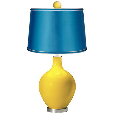 Citrus - Satin Turquoise Ovo Table Lamp with Color Finial