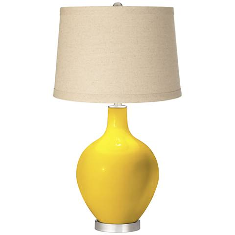 Citrus Oatmeal Linen Shade Ovo Table Lamp