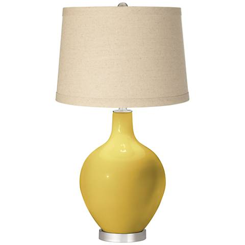 Nugget Oatmeal Linen Shade Ovo Table Lamp