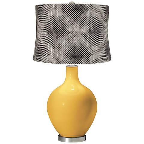 Goldenrod Black Pixels Shade Ovo Table Lamp