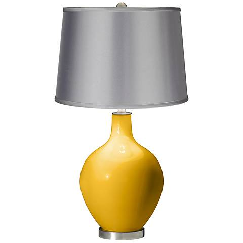 Goldenrod - Satin Light Gray Shade Ovo Table Lamp