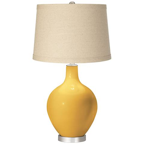 Goldenrod Oatmeal Linen Shade Ovo Table Lamp