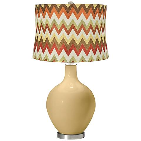 Humble Gold Red and Brown Chevron Shade Ovo Table Lamp