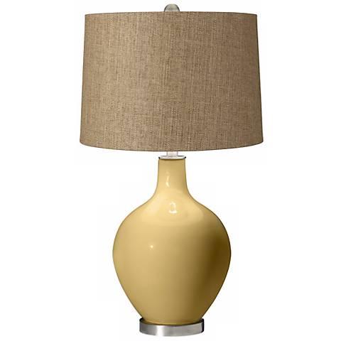 Humble Gold Tan Woven Ovo Table Lamp