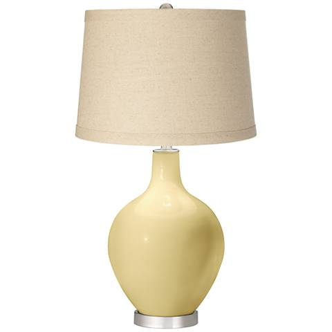 Butter Up Oatmeal Linen Shade Ovo Table Lamp