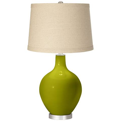 Olive Green Oatmeal Linen Shade Ovo Table Lamp