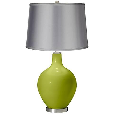 Parakeet - Satin Light Gray Shade Ovo Table Lamp