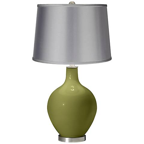 Rural Green - Satin Light Gray Shade Ovo Table Lamp