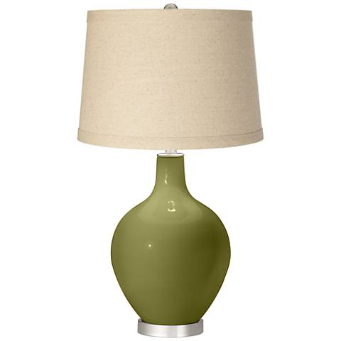 Rural Green Oatmeal Linen Shade Ovo Table Lamp