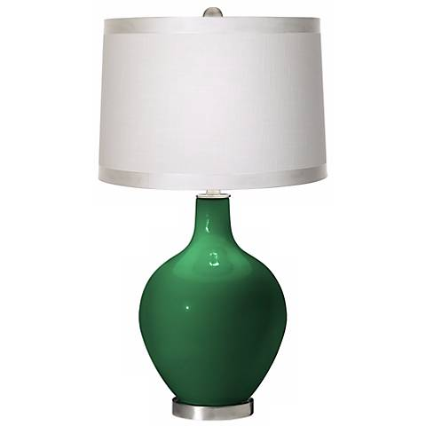 Greens White Drum Shade Ovo Table Lamp