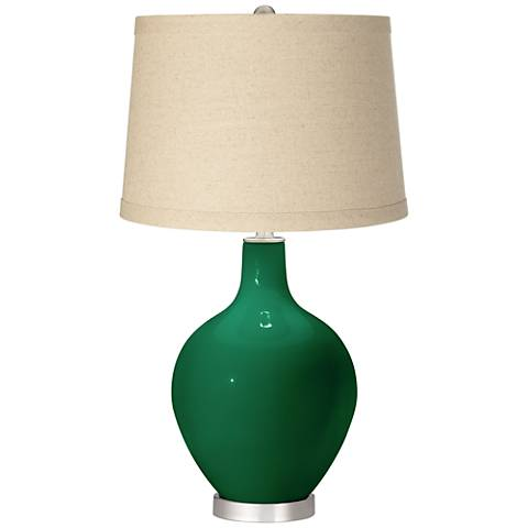 Greens Oatmeal Linen Shade Ovo Table Lamp