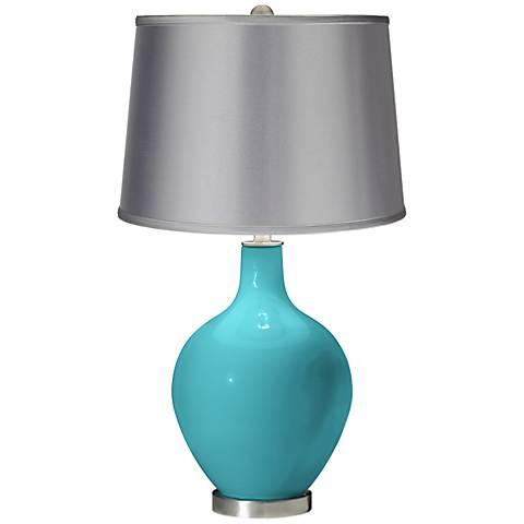 Surfer Blue - Satin Light Gray Shade Ovo Table Lamp