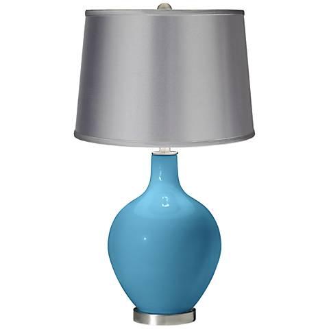 Jamaica Bay - Satin Light Gray Shade Ovo Table Lamp