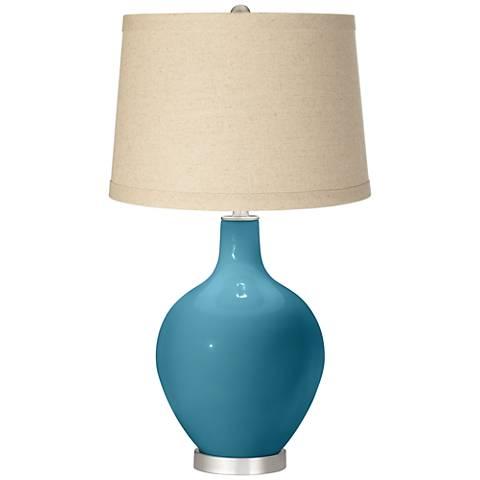 Great Falls Oatmeal Linen Shade Ovo Table Lamp