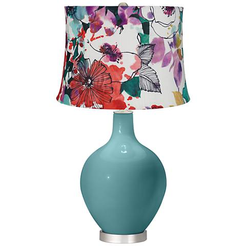 Reflecting Pool Multi-Color Flowers Ovo Table Lamp