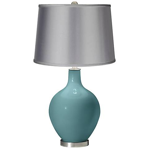 Reflecting Pool - Satin Light Gray Shade Ovo Table Lamp