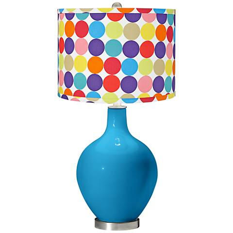 River Blue Multi-Color Circles Shade Ovo Table Lamp