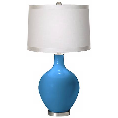 River Blue White Drum Shade Ovo Table Lamp