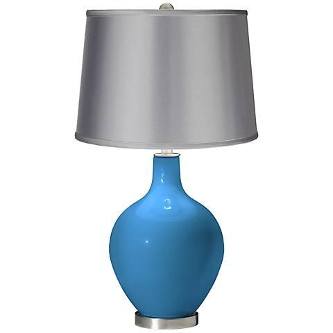 River Blue - Satin Light Gray Shade Ovo Table Lamp