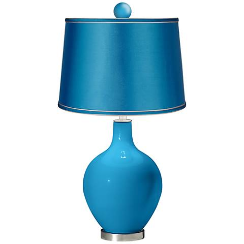 River Blue - Satin Turquoise Ovo Lamp with Color Finial