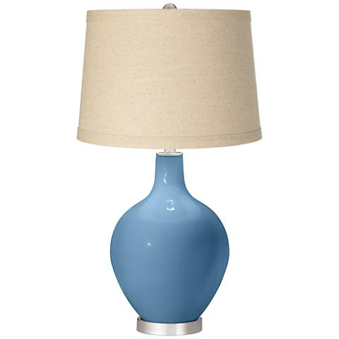 Secure Blue Oatmeal Linen Shade Ovo Table Lamp