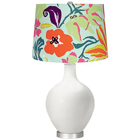 Winter White Bright Tropical Shade Ovo Table Lamp