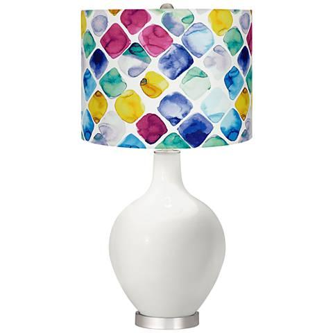 Winter White Multi-Color Diamond Shade Ovo Table Lamp