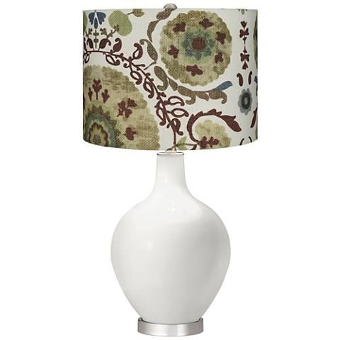 Winter White Green Floral Paisley Ovo Table Lamp