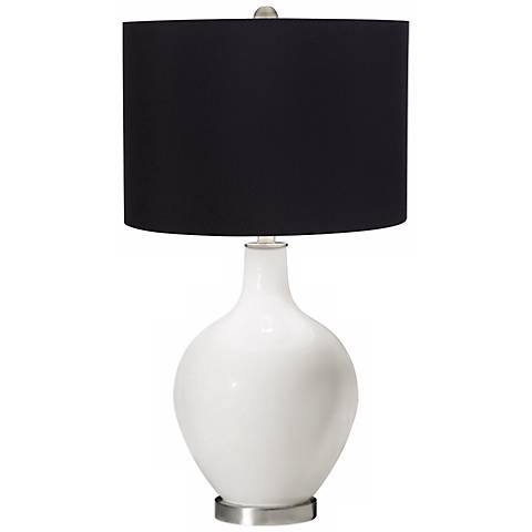 Winter White Black Shade Ovo Table Lamp