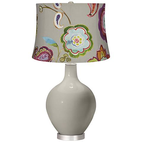 Requisite Gray Beige with Flowers Ovo Table Lamp