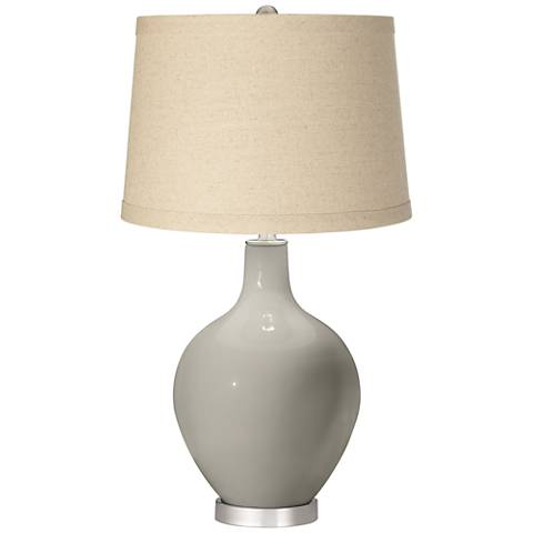 Requisite Gray Oatmeal Linen Shade Ovo Table Lamp