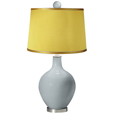 Uncertain Gray - Satin Yellow Ovo Table Lamp with Color Finial