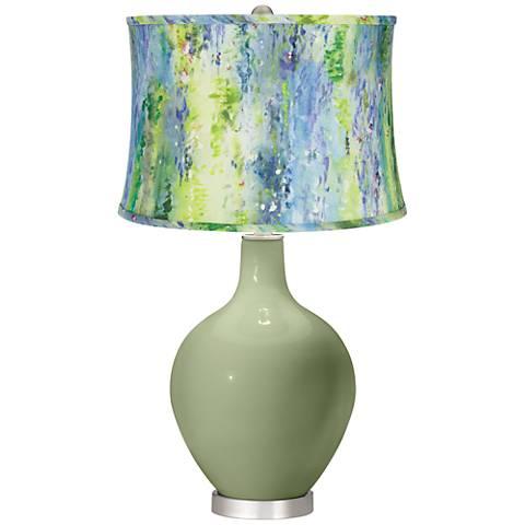 Majolica Green Cool Watercolor Shade Ovo Table Lamp