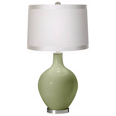 Majolica Green White Drum Shade Ovo Table Lamp