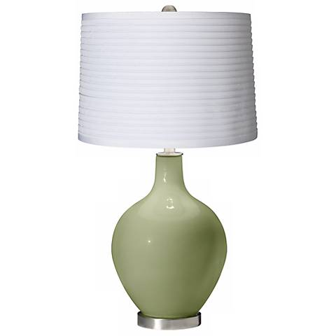 Majolica Green White Pleated Shade Ovo Table Lamp