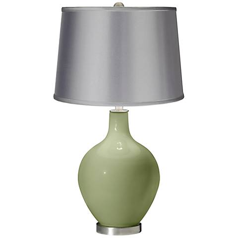 Majolica Green - Satin Light Gray Shade Ovo Table Lamp