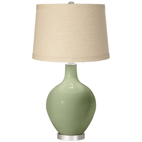 Majolica Green Oatmeal Linen Shade Ovo Table Lamp