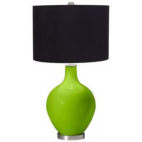 Neon Green Black Shade Ovo Table Lamp