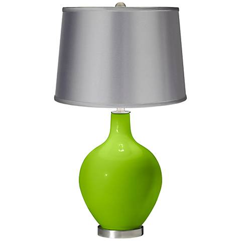 Neon Green - Satin Light Gray Shade Ovo Table Lamp