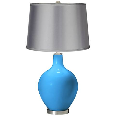 Sky Blue - Satin Light Gray Shade Ovo Table Lamp